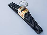 Плечики вешалки тремпеля металлический в силиконовом покрытии серого цвета длина 41,5 см, в упаковке 10 штук