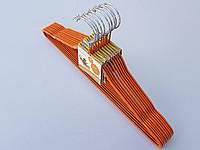 Плечики тремпеля металлический в силиконовом покрытии оранжевого цвета длина 41,5 см, в упаковке 10 штук