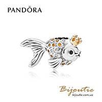 Pandora Шарм ЗОЛОТАЯ РЫБКА #792014CCZ серебро 925 золото 14к  Пандора оригинал