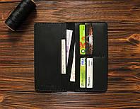 Мужское кожаное портмоне (мини-клатч) ручной работы VOILE lw1-blk