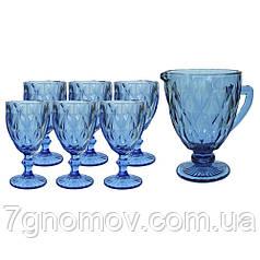 Набор 6 бокалов Bailey Miranda 300 мл и графин 1000 мл синий (101-98)