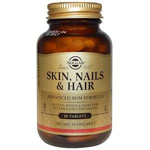 Solgar, кожа, ногти и волосы, улучшенная формула с метилсульфонилметаном, 60 таблеток