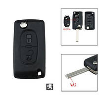 Корпус выкидного ключа 2 кнопки Peugeot VA2 с держателем батарейки, фото 1