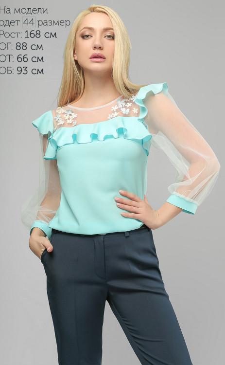 Нарядная женская блуза с цветами (3 цвета)