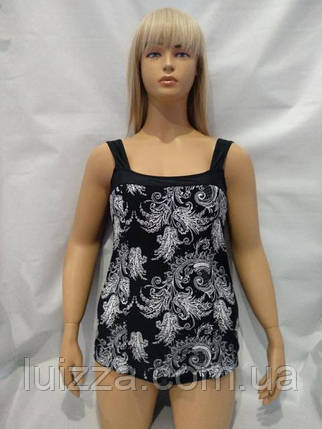 Модный слитный купальник 48 50 52 54 56 р черный, фото 2