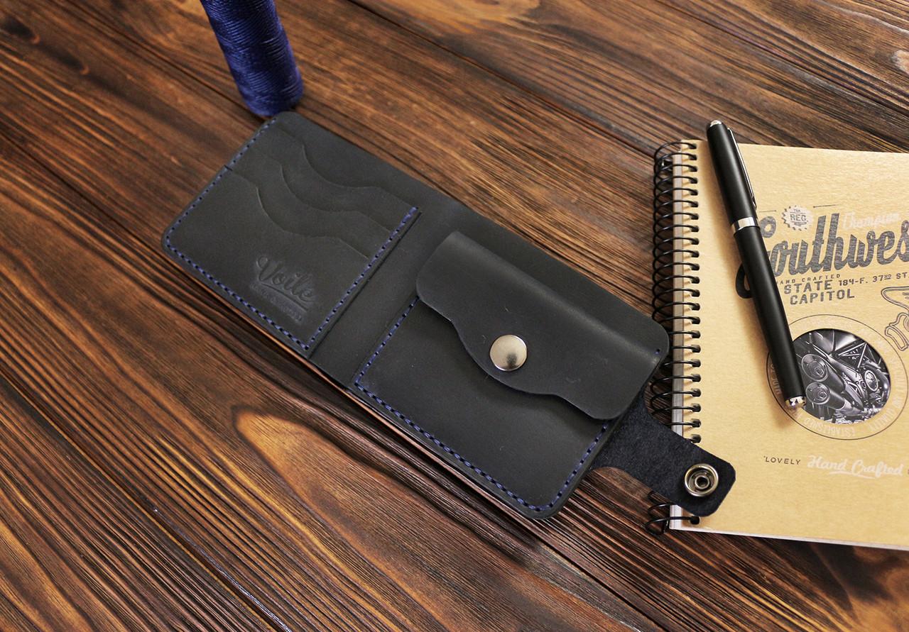 Мужской кожаный кошелек ручной работы VOILE vl-cw1-blu