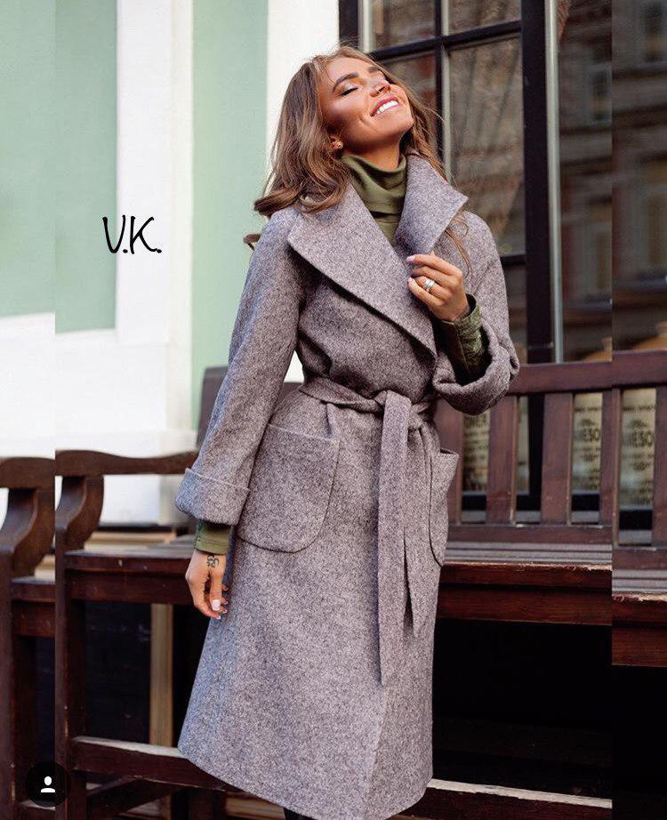 Кашемировое пальто на запах со съемным поясом 42-46 р