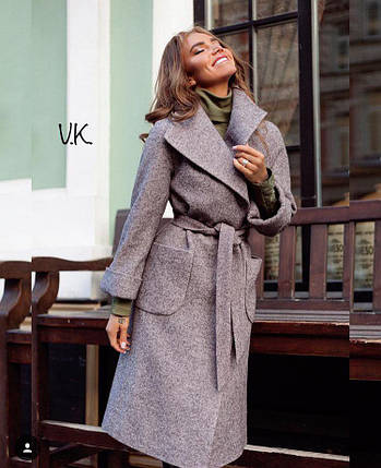 Кашемировое пальто на запах со съемным поясом 42-46 р, фото 2