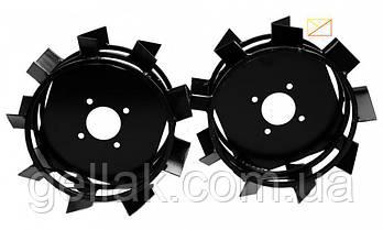 Грунтозацепы к мотоблоку (железные колёса) Ø 450 мм на профтрубе