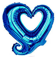 """Шар фольгированный """"Сердце синее фигурное"""". Размер: 45см."""