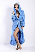 Женский халат с капюшоном, длинный с теплим и длинным ворсом  DKaren Польша   DKaren-24