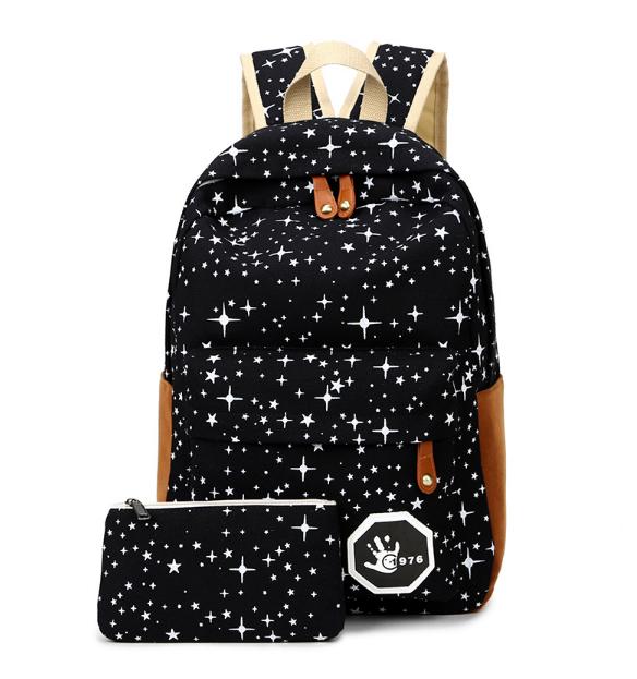 Набор Звёзды Рюкзак+пенал Звёздное небо черный Школьный Городской Портфель