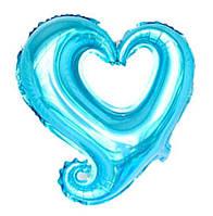 """Шар фольгированный """"Сердце вензель голубое"""". Размер: 45см."""