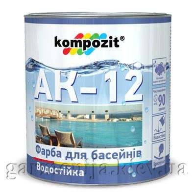 Краска для бассейнов АК-12 Kompozit, 0.9 кг Голубой, фото 2