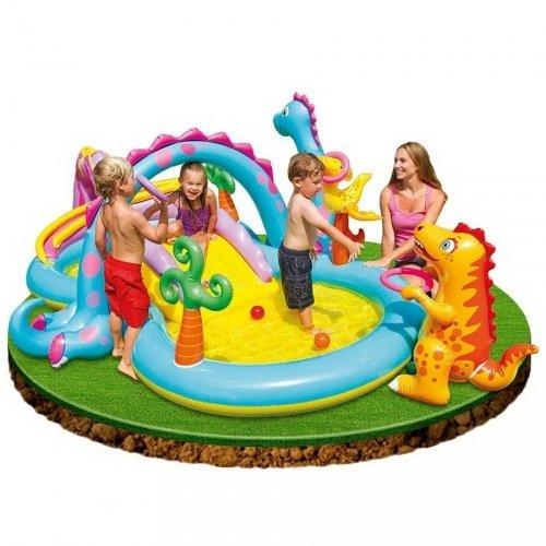 Детский игровой центр-бассейн с горкой Intex 57135, Планета Динозавров