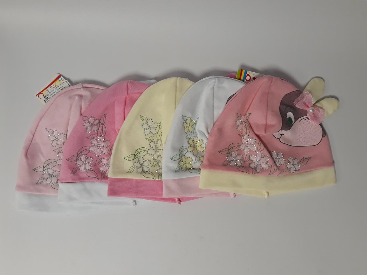 Головной убор для девочек 1-2 года Весна/Осень Зайчик Трикотаж XTS7033 Украина