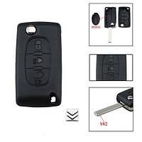 Корпус выкидного ключа 3 кнопки Citroen VA2 без держателя батарейки, фото 1
