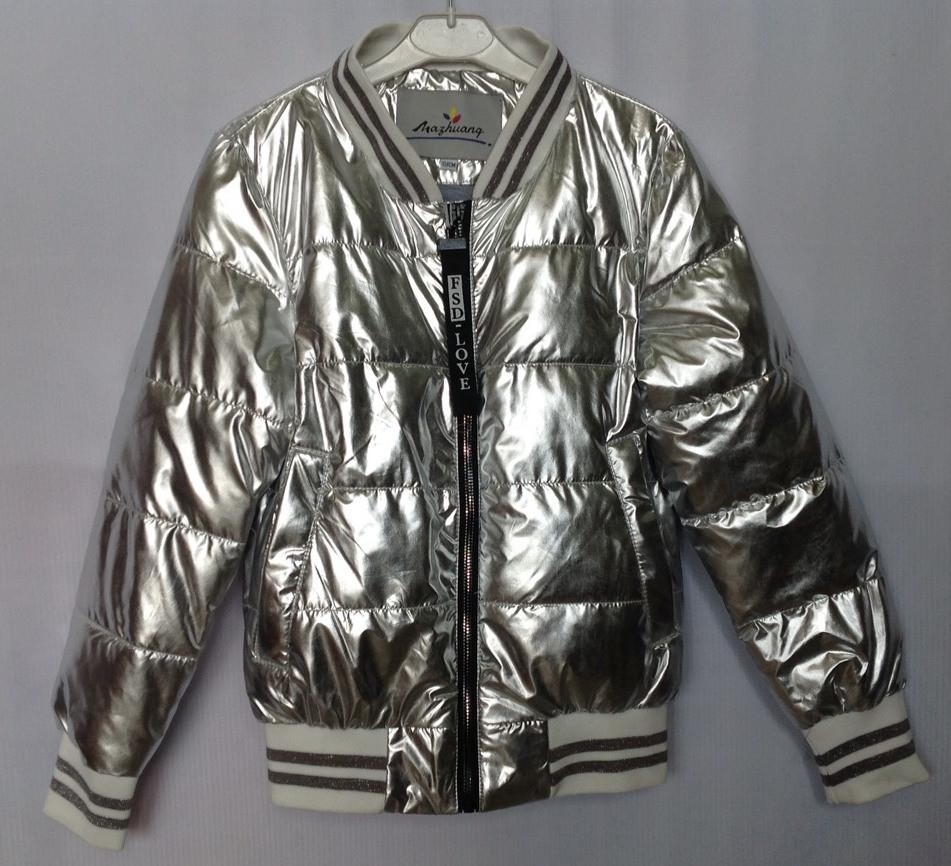 """Куртка-ветровка подростковая """"FSD*Love""""  #NK-8826 для девочек. 9-10-11-12-13 лет. Серебряная. Оптом."""