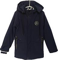 """Куртка подростковая демисезонная """"JieKei"""" #1728 для мальчиков. 10-11-12-13-14 лет. Темно-синяя. Оптом., фото 1"""