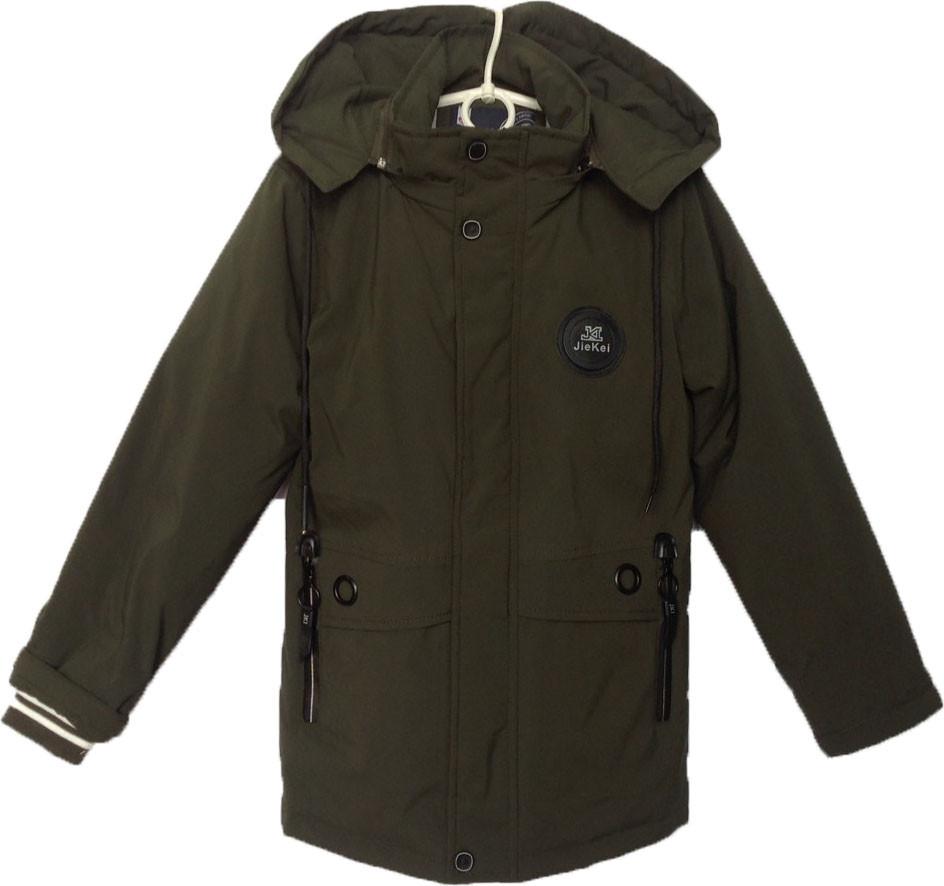 """Куртка подростковая демисезонная """"JieKei"""" #1728 для мальчиков. 10-11-12-13-14 лет. Зеленая. Оптом., фото 1"""