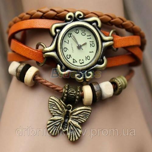 Часы-браслет с бабочькой оранжевые 7 цветов
