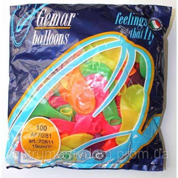 """Надувные шары неоновые Gemar Balloons AF70/81 (19 см/7"""", арт. 70811, упаковка 100 шт)"""