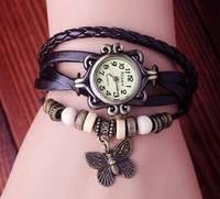 Часы-браслет с бабочькой черные 7 цветов