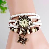 Часы-браслет с бабочькой белые, фото 1