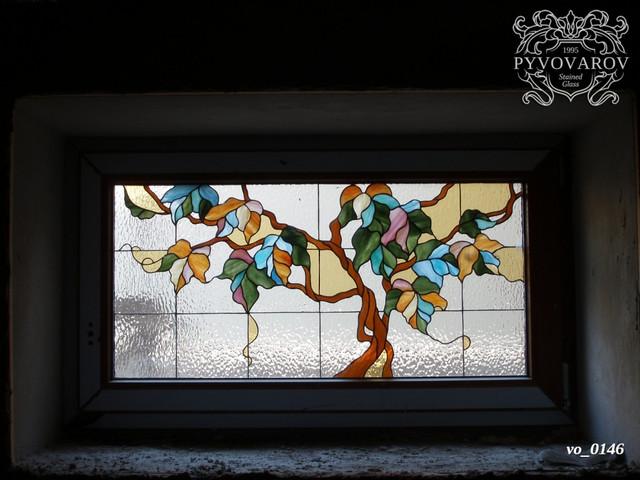 витражи на окна листья