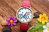 Часы наручные красные с принтом велосипеда, фото 2