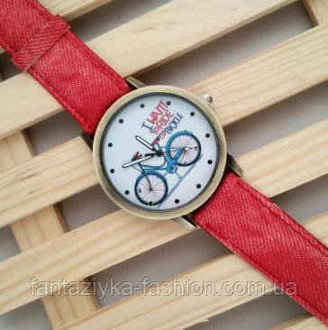 Часы наручные красные с принтом велосипеда