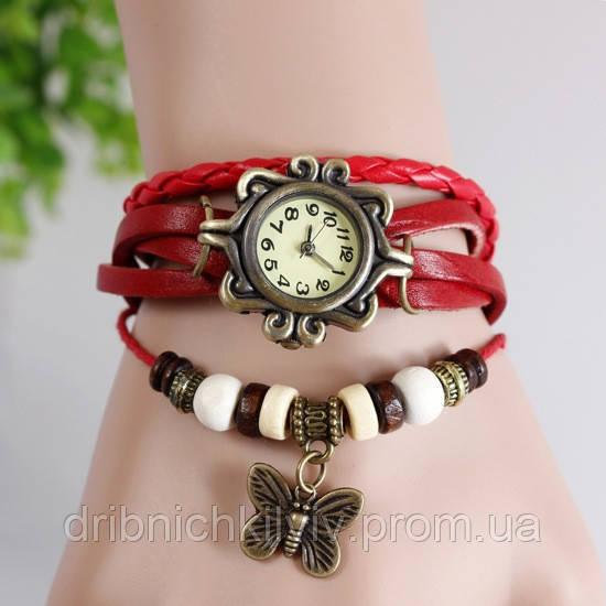 Часы-браслет с бабочькой красные