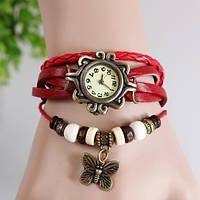 Часы-браслет с бабочькой красные, фото 1