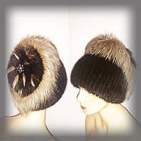 """Меховая шапка из коричневой ондатры с золотистой чернобуркой """" Ромашка """", фото 1"""