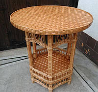 Плетеный круглый стол с полкой