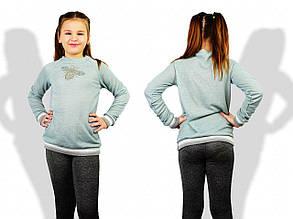 Детский батник для девочек, петелька, р-р 122; 128; 134; 140 (мятный)