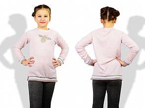 Детский батник для девочек, петелька, р-р 122; 128; 134; 140 (пудровый)