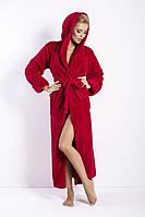 Женский халат с капюшоном, длинный с теплим и длинным ворсом  DKaren Польша   DKaren-34