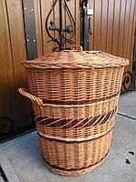 Плетеная корзина для белья с крышкой