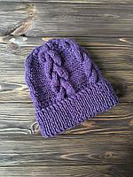 Шапка фиолетовая с узором из кос ручной работы MoziOne