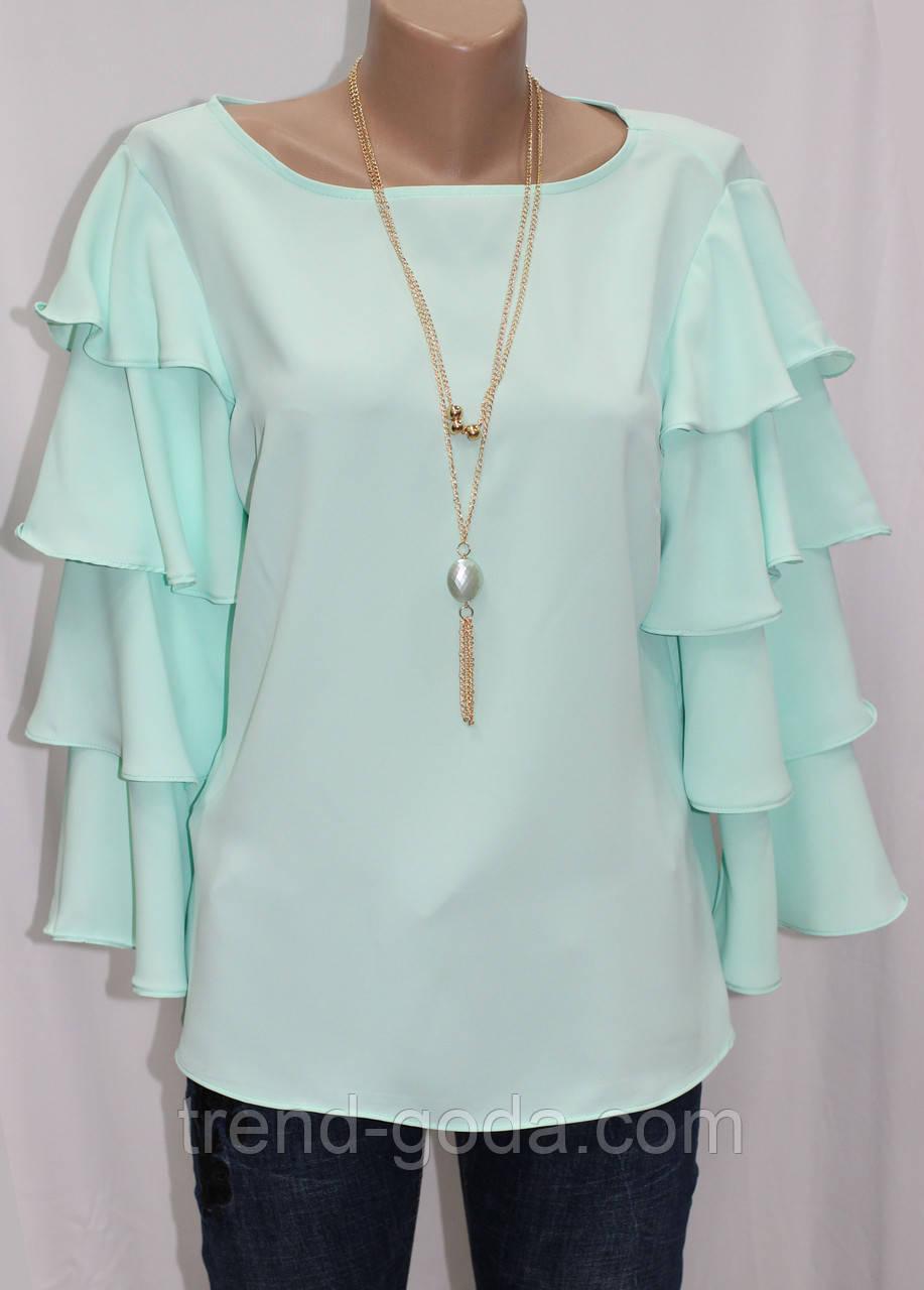 Стильная женская блуза мятная, рукав воланы, Турция