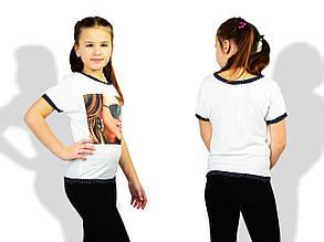 Детская футболка для девочек, микро - масло, р-р 122; 128; 134 (белый)