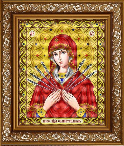 """Схема для вышивки бисером """"Пресвятая Богородица Семистрельная в золоте"""" ИС-4039"""
