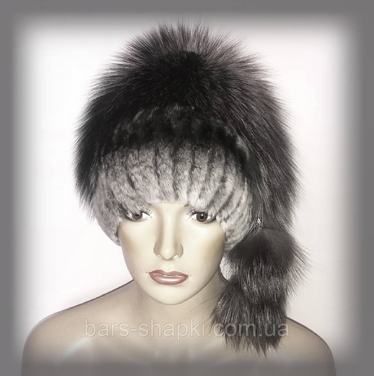 Меховая шапка комбинированная из чернобурки и Rex Rabbit