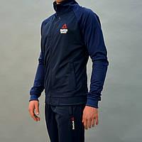Темно-синий мужской спортивный костюм Reebok Crossfit (Рибок)   Турция, Трикотаж-лакоста, Размеры: 46-54.