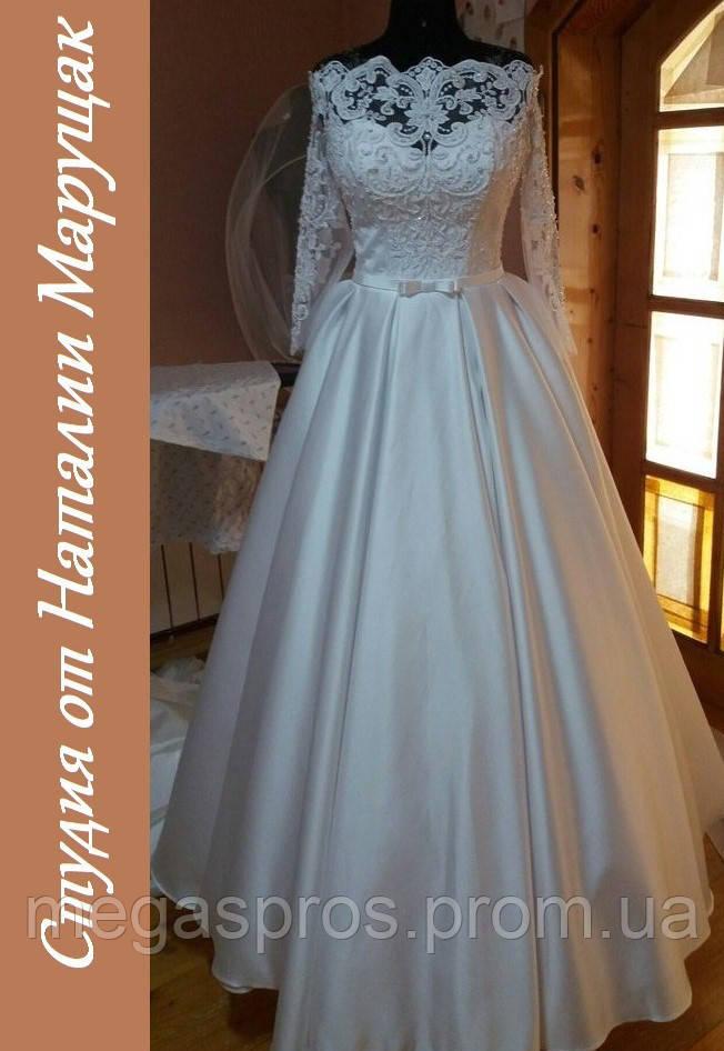 Свадебное платье с кружевным верхом. Жаккард. Корсет на шнуровке. Рукав  3 4. 0c52e9aba99f5