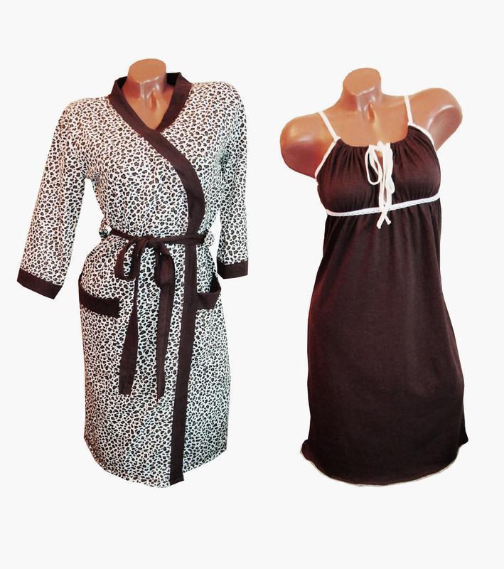 Ночная сорочка для кормления и халат. Комплект в роддом. Ткань 100% хлопок.  Размеры норма aff9ab9c92b92