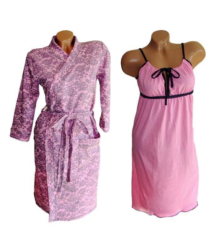 Ночная сорочка для кормления и халат. Комплект в роддом. Ткань 100% хлопок. 9275d3917a6c7