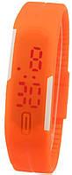 Наручные часы LED Оранжевые с белыми полосками