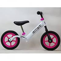 Беговел велобег Profi Kids M 3436-2 бело-розовый. Диаметр 12 дюймов.Колёса - вспененая резина EVA.